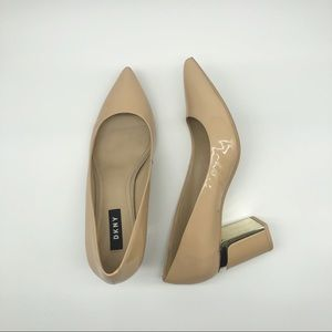 DKNY Elie Nude Leather Pumps Size 8.5/39 Pointed